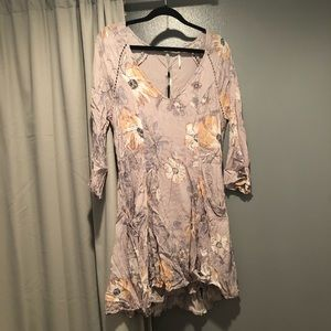 Free People Lilac/Coral Floral Dress S EUC